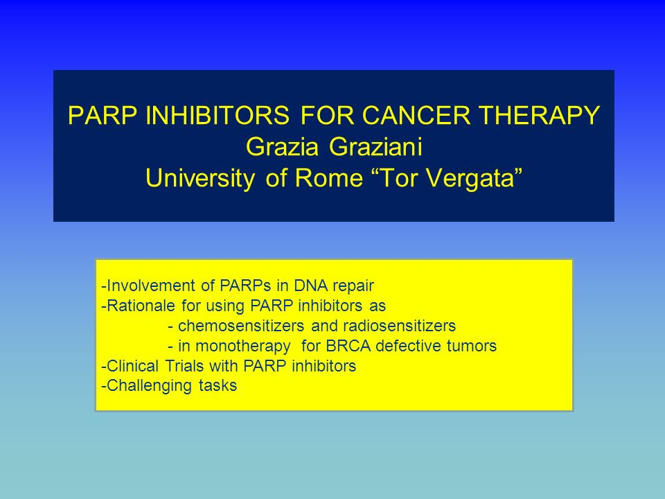 OLAPARIB: Phase II in BRCA1 OR BRCA2 MUTATED ADVANCED BREAST CANCER (ICEBERG 1) Tutt A et al., The Lancet 376, 235, 2010 54 recurrent or advanced cancer patients with a median of 3 previous chemotherapy regimens Low grade toxicity: 41% fatigue (grade 1 and 2) and nausea (grade 1 and 2) 41% objective response and tolerability of olaparib at 400 mg twice daily compares favorably with expected levels of activity (20–30% or less; 22% 100 mg) and toxicity of most chemotherapy agents used in patients previously treated with anthracycline and taxanes.