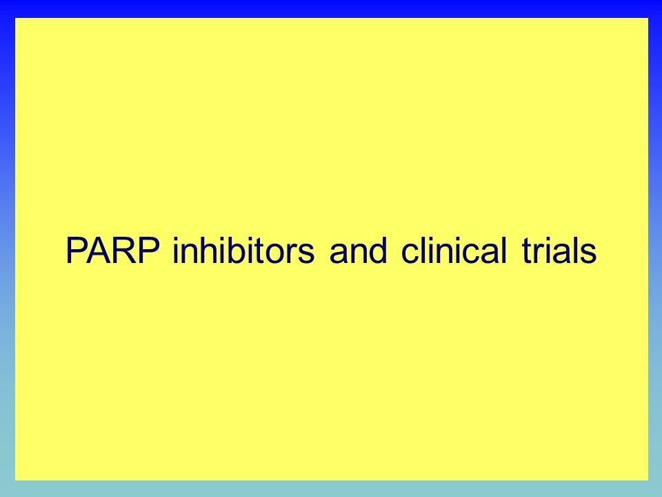 PARP INHIBITION BY NICOTINAMIDE ANALOGUES O NH 2 N Nicotinamide PARP inhibitor CATALYTIC DOMAIN O X H N N NAD + binding X PARP inhibitors and clinical