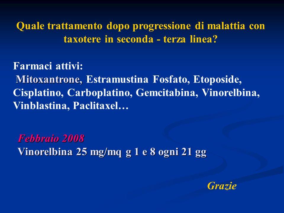 Quale trattamento dopo progressione di malattia con taxotere in seconda - terza linea? Febbraio 2008 Vinorelbina 25 mg/mq g 1 e 8 ogni 21 gg Farmaci a