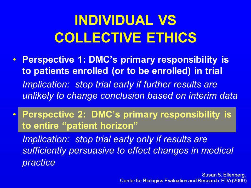 Susan S. Ellenberg, Center for Biologics Evaluation and Research, FDA (2000) INDIVIDUAL VS COLLECTIVE ETHICS Perspective 1: DMCs primary responsibilit