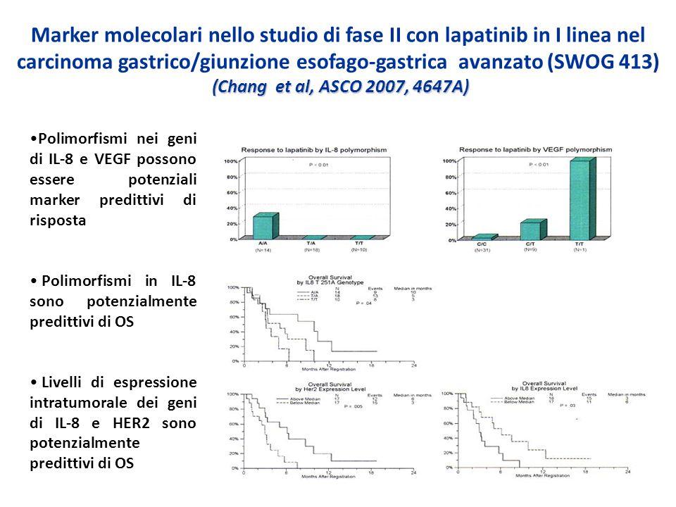 (Chang et al, ASCO 2007, 4647A) Marker molecolari nello studio di fase II con lapatinib in I linea nel carcinoma gastrico/giunzione esofago-gastrica a