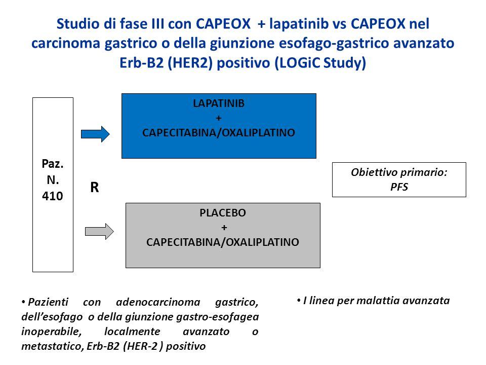 Studio di fase III con CAPEOX + lapatinib vs CAPEOX nel carcinoma gastrico o della giunzione esofago-gastrico avanzato Erb-B2 (HER2) positivo (LOGiC S