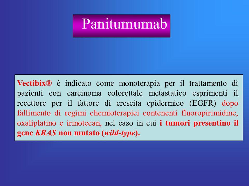 Panitumumab Vectibix® è indicato come monoterapia per il trattamento di pazienti con carcinoma colorettale metastatico esprimenti il recettore per il