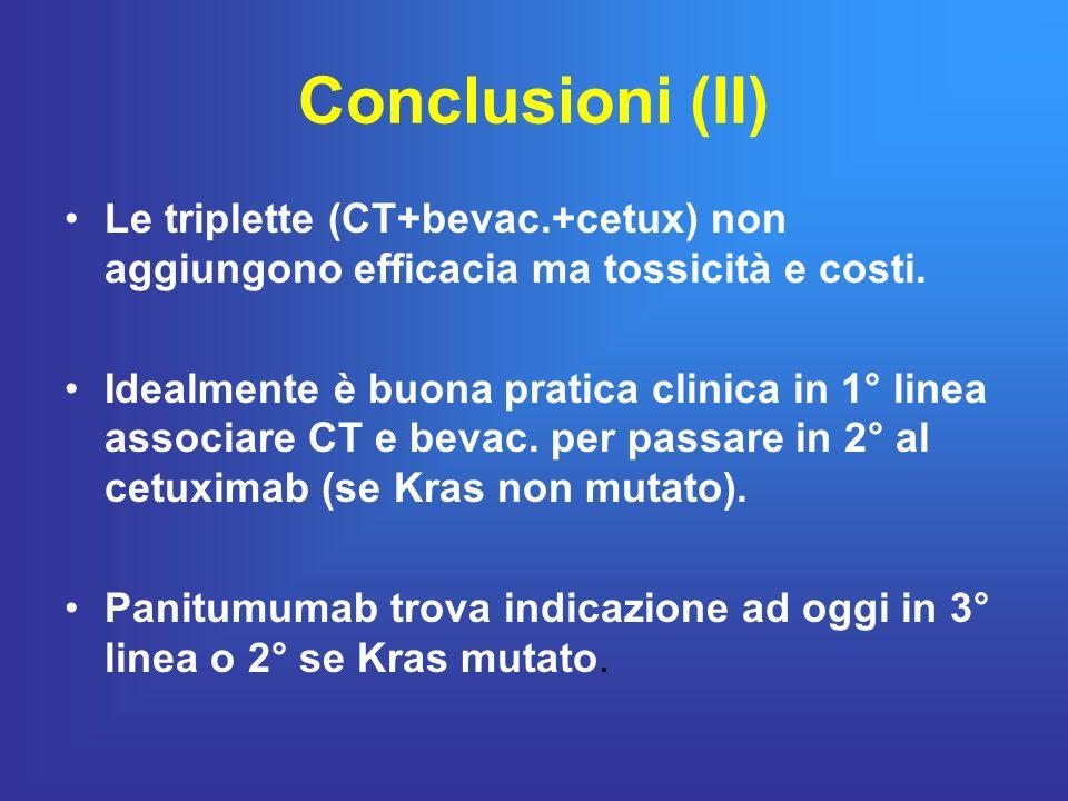 Conclusioni (II) Le triplette (CT+bevac.+cetux) non aggiungono efficacia ma tossicità e costi. Idealmente è buona pratica clinica in 1° linea associar