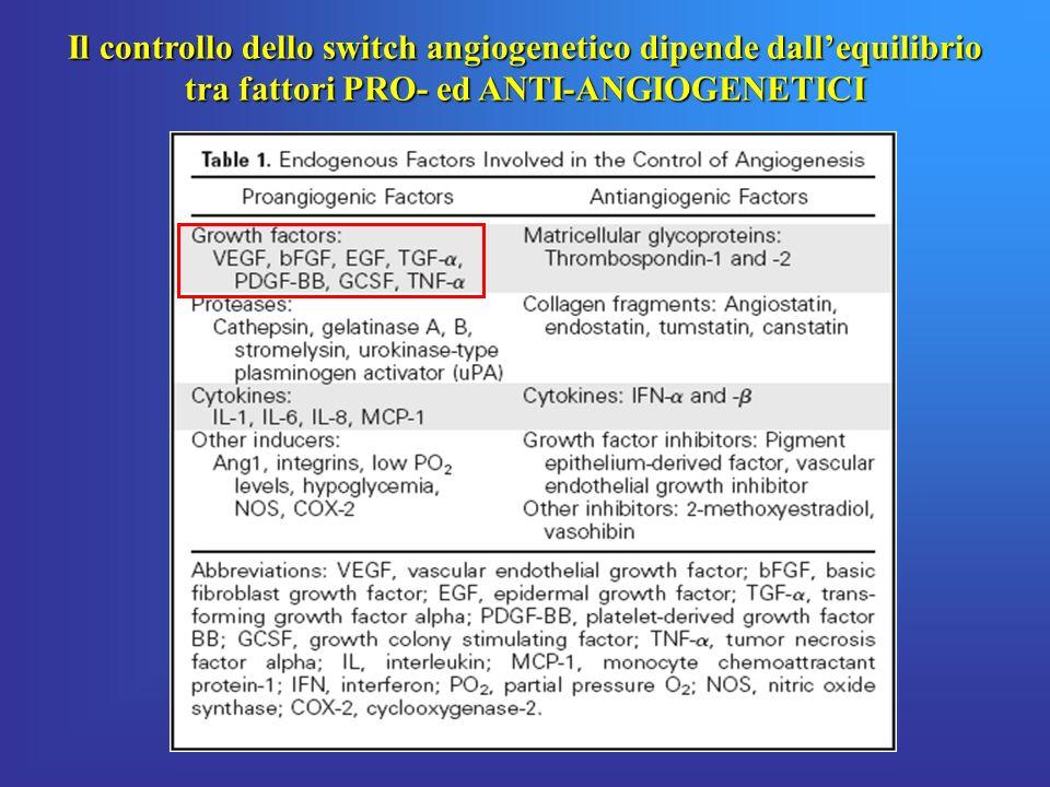 Il controllo dello switch angiogenetico dipende dallequilibrio tra fattori PRO- ed ANTI-ANGIOGENETICI