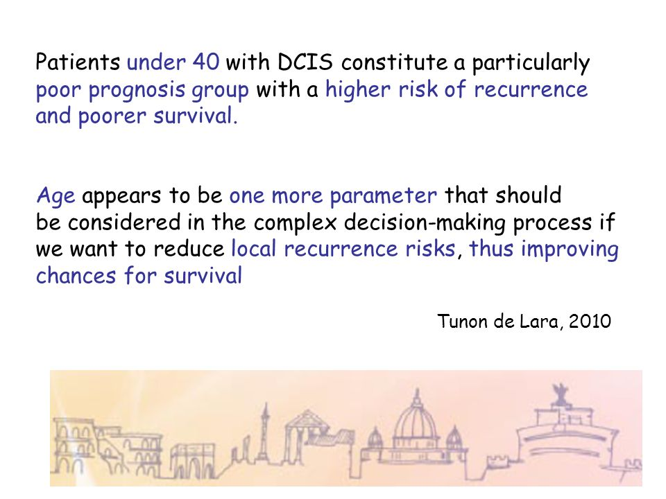Patients under 40 with DCIS constitute a particularly poor prognosis group with a higher risk of recurrence and poorer survival. Age appears to be one