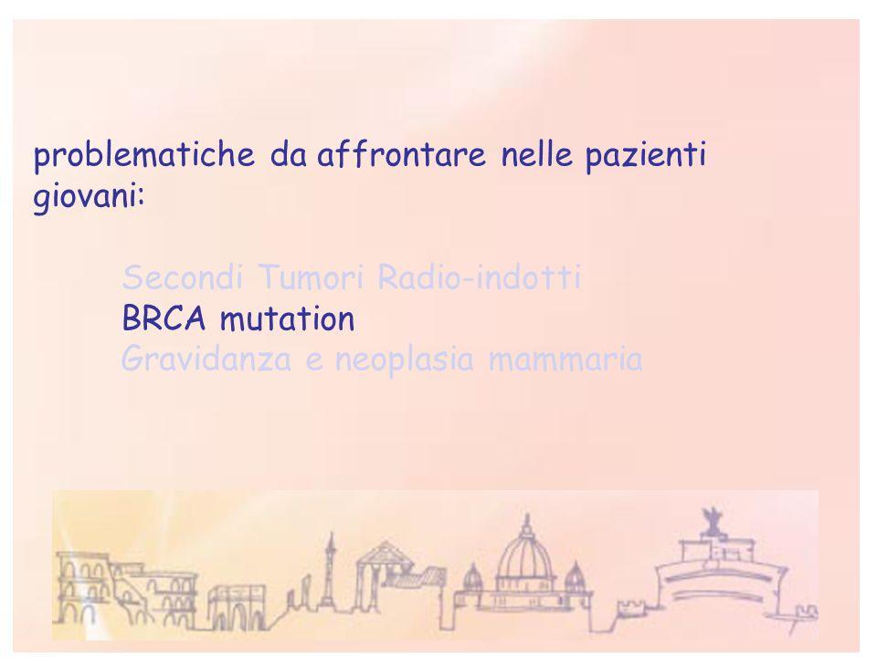 problematiche da affrontare nelle pazienti giovani: Secondi Tumori Radio-indotti BRCA mutation Gravidanza e neoplasia mammaria