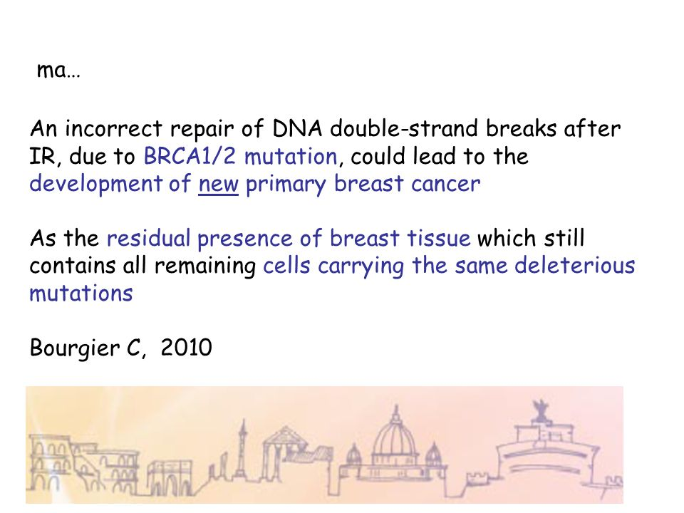 ma… An incorrect repair of DNA double-strand breaks after IR, due to BRCA1/2 mutation, could lead to the development of new primary breast cancer As t