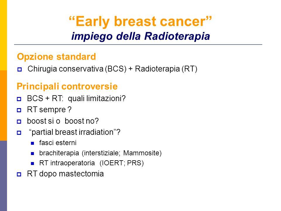 Early breast cancer impiego della Radioterapia Opzione standard Chirugia conservativa (BCS) + Radioterapia (RT) Principali controversie BCS + RT: quali limitazioni.