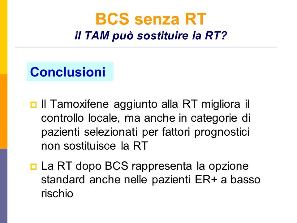 BCS senza RT il TAM può sostituire la RT? Il Tamoxifene aggiunto alla RT migliora il controllo locale, ma anche in categorie di pazienti selezionati p