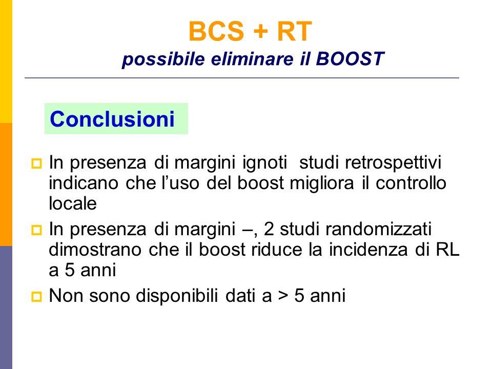 BCS + RT possibile eliminare il BOOST In presenza di margini ignoti studi retrospettivi indicano che luso del boost migliora il controllo locale In presenza di margini –, 2 studi randomizzati dimostrano che il boost riduce la incidenza di RL a 5 anni Non sono disponibili dati a > 5 anni Conclusioni