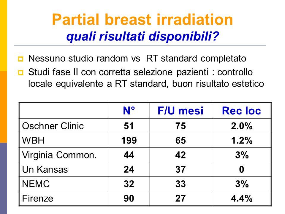 Partial breast irradiation quali risultati disponibili? Nessuno studio random vs RT standard completato Studi fase II con corretta selezione pazienti