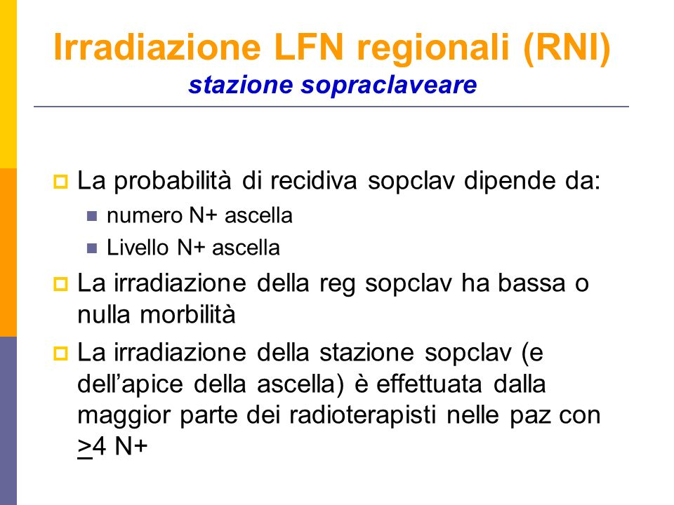 La probabilità di recidiva sopclav dipende da: numero N+ ascella Livello N+ ascella La irradiazione della reg sopclav ha bassa o nulla morbilità La irradiazione della stazione sopclav (e dellapice della ascella) è effettuata dalla maggior parte dei radioterapisti nelle paz con >4 N+ Irradiazione LFN regionali (RNI) stazione sopraclaveare