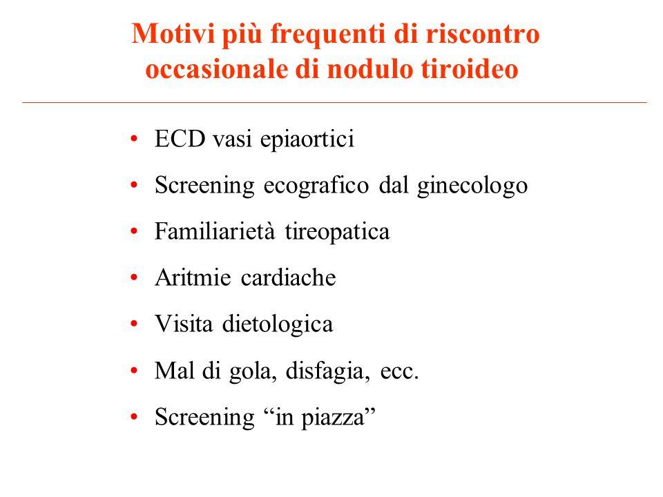 Motivi più frequenti di riscontro occasionale di nodulo tiroideo ECD vasi epiaortici Screening ecografico dal ginecologo Familiarietà tireopatica Arit