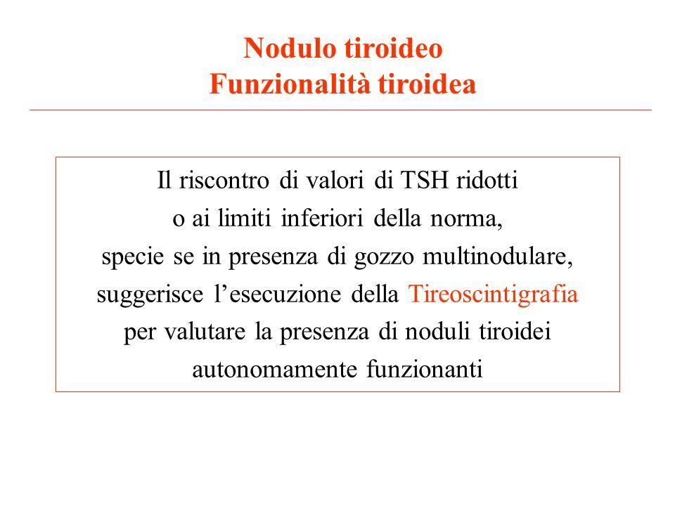 Nodulo tiroideo Funzionalità tiroidea Il riscontro di valori di TSH ridotti o ai limiti inferiori della norma, specie se in presenza di gozzo multinod