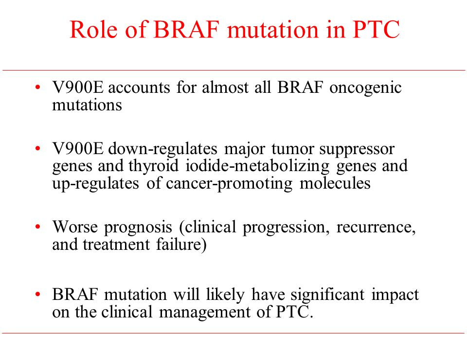 V900E accounts for almost all BRAF oncogenic mutations V900E down-regulates major tumor suppressor genes and thyroid iodide-metabolizing genes and up-regulates of cancer-promoting molecules Worse prognosis (clinical progression, recurrence, and treatment failure) BRAF mutation will likely have significant impact on the clinical management of PTC.