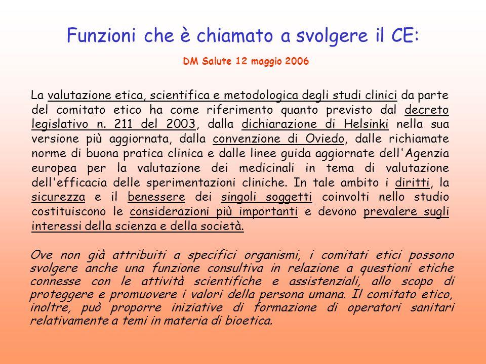 Funzioni che è chiamato a svolgere il CE: DM Salute 12 maggio 2006 La valutazione etica, scientifica e metodologica degli studi clinici da parte del c
