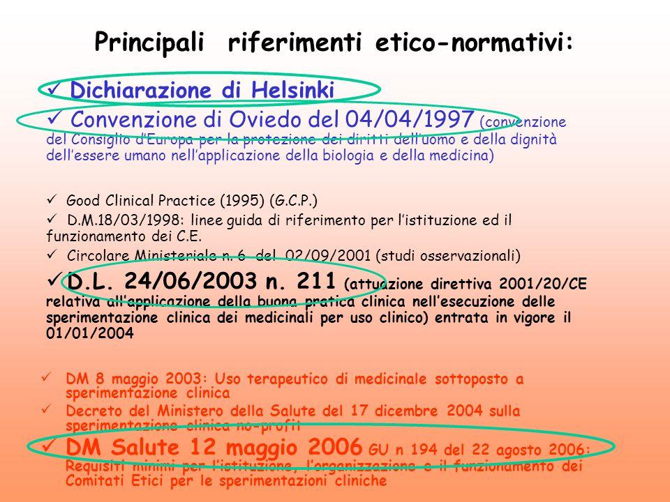 Principali riferimenti etico-normativi: DM 8 maggio 2003: Uso terapeutico di medicinale sottoposto a sperimentazione clinica Decreto del Ministero del