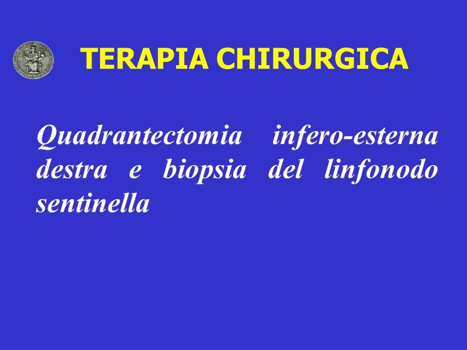TERAPIA CHIRURGICA Quadrantectomia infero-esterna destra e biopsia del linfonodo sentinella