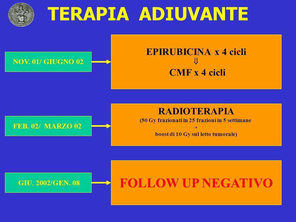 TERAPIA ADIUVANTE EPIRUBICINA x 4 cicli CMF x 4 cicli RADIOTERAPIA (50 Gy frazionati in 25 frazioni in 5 settimane + boost di 10 Gy sul letto tumorale
