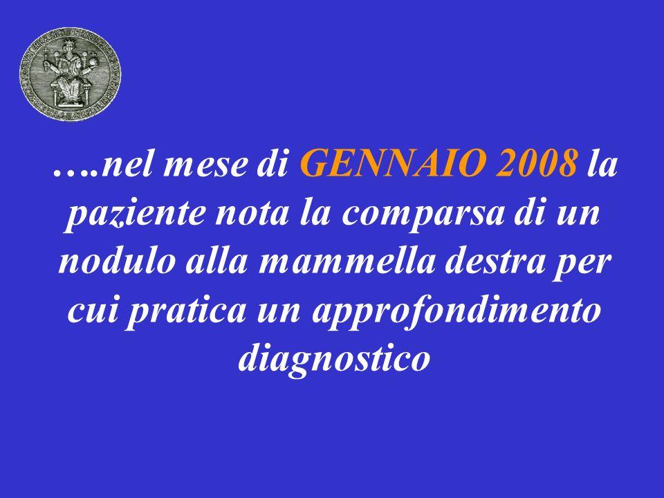 APPROFONDIMENTO DIAGNOSTICO MAMMOGRAFIA: opacità a margini sfumati di diametro massimo di 2 cm a livello del QIE della mammella destra anteriormente alla quale si evidenzia piccola area di disordine architetturale ECOGRAFIA: area ipo-ecogena a margini sfumati a livello del QIE della mammella destra FNAB (lesione QIE destro): presenza di cellule neoplastiche da carcinoma duttale
