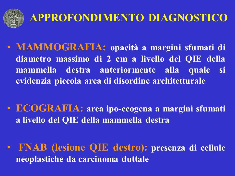 APPROFONDIMENTO DIAGNOSTICO MAMMOGRAFIA: opacità a margini sfumati di diametro massimo di 2 cm a livello del QIE della mammella destra anteriormente a