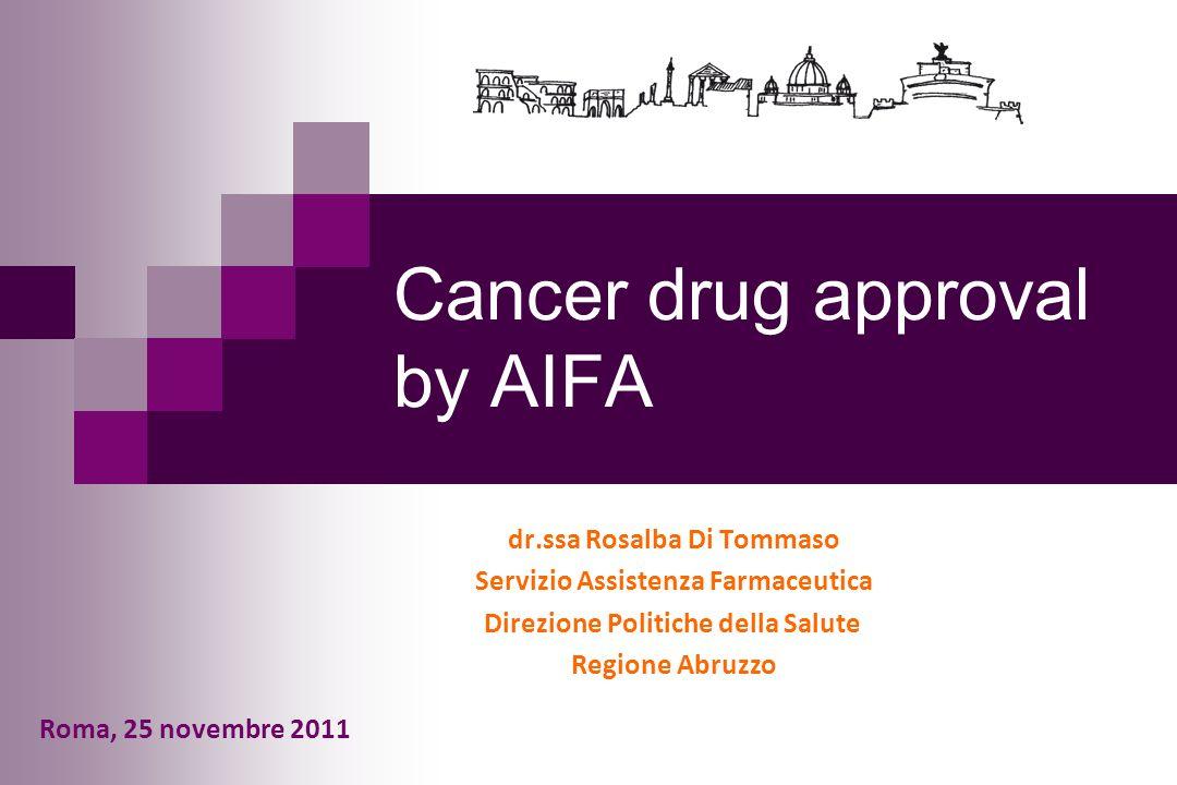 Cancer drug approval by AIFA dr.ssa Rosalba Di Tommaso Servizio Assistenza Farmaceutica Direzione Politiche della Salute Regione Abruzzo Roma, 25 nove