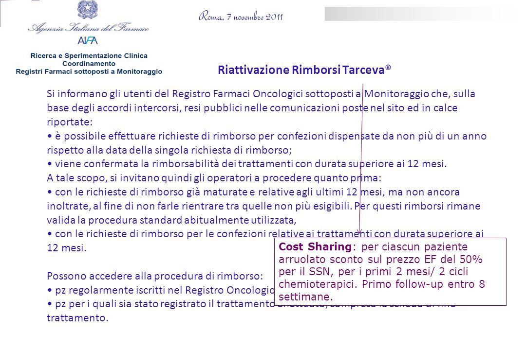 Si informano gli utenti del Registro Farmaci Oncologici sottoposti a Monitoraggio che, sulla base degli accordi intercorsi, resi pubblici nelle comuni