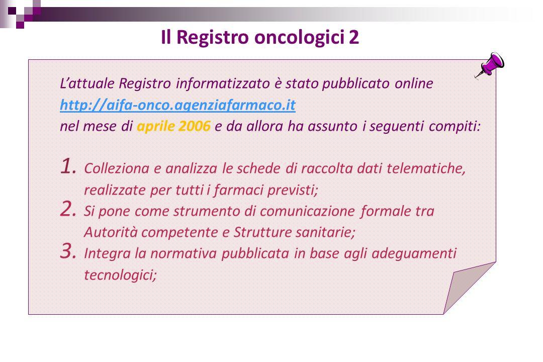 Lattuale Registro informatizzato è stato pubblicato online http://aifa-onco.agenziafarmaco.it nel mese di aprile 2006 e da allora ha assunto i seguent
