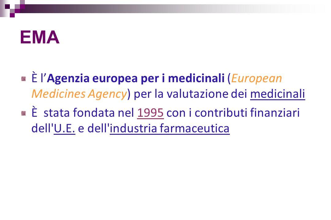 EMA È lAgenzia europea per i medicinali (European Medicines Agency) per la valutazione dei medicinali È stata fondata nel 1995 con i contributi finanz