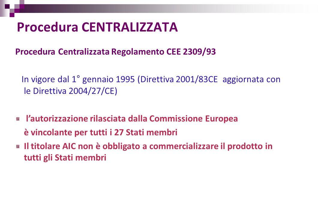 Procedura CENTRALIZZATA Procedura Centralizzata Regolamento CEE 2309/93 In vigore dal 1° gennaio 1995 (Direttiva 2001/83CE aggiornata con le Direttiva