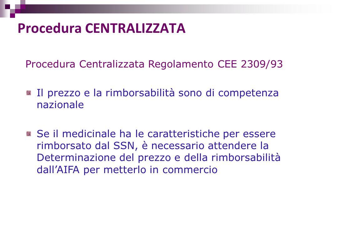 Procedura Centralizzata Regolamento CEE 2309/93 Il prezzo e la rimborsabilità sono di competenza nazionale Se il medicinale ha le caratteristiche per