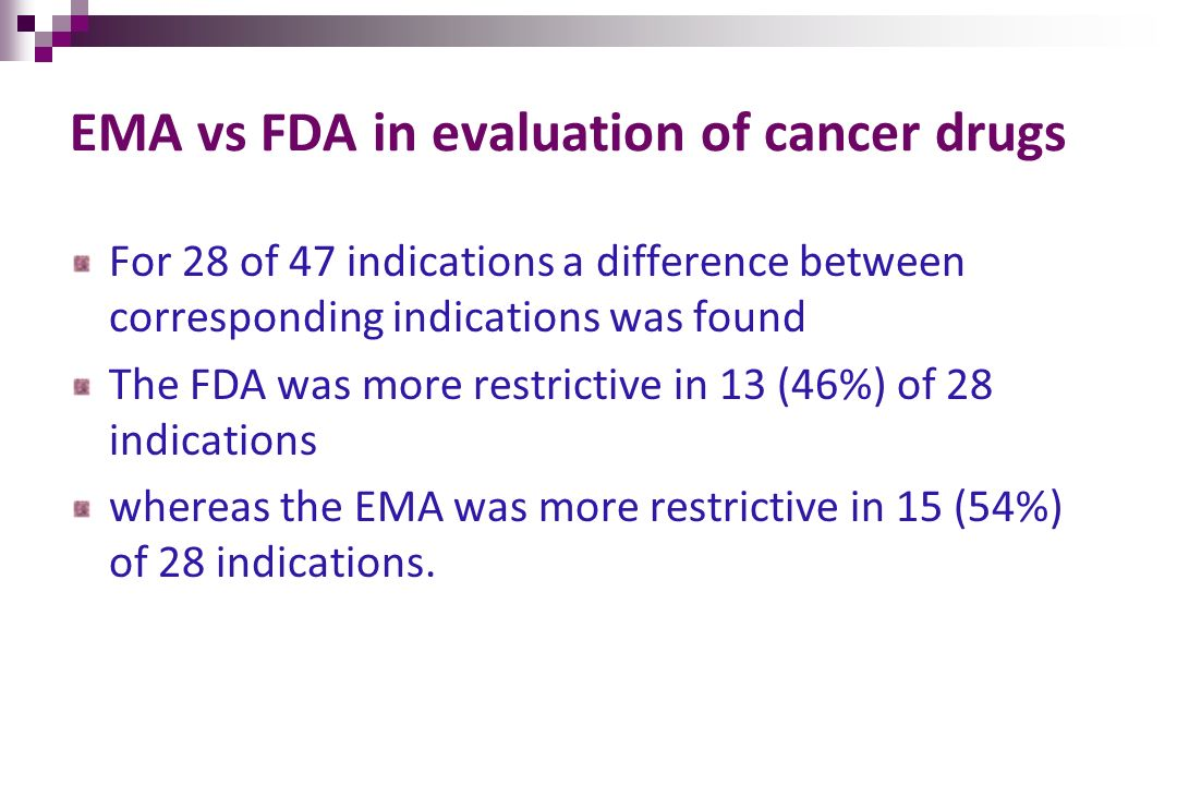 For 28 of 47 indications a difference between corresponding indications was found The FDA was more restrictive in 13 (46%) of 28 indications whereas t