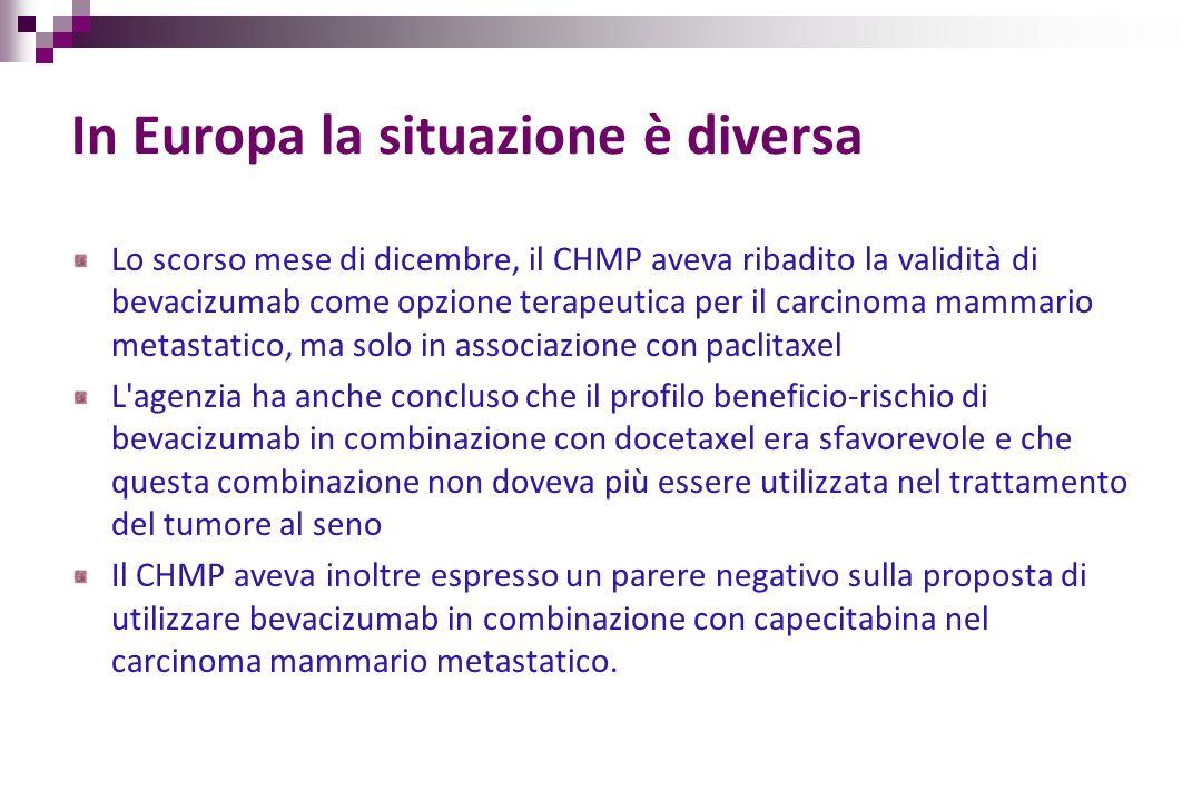 In Europa la situazione è diversa Lo scorso mese di dicembre, il CHMP aveva ribadito la validità di bevacizumab come opzione terapeutica per il carcin