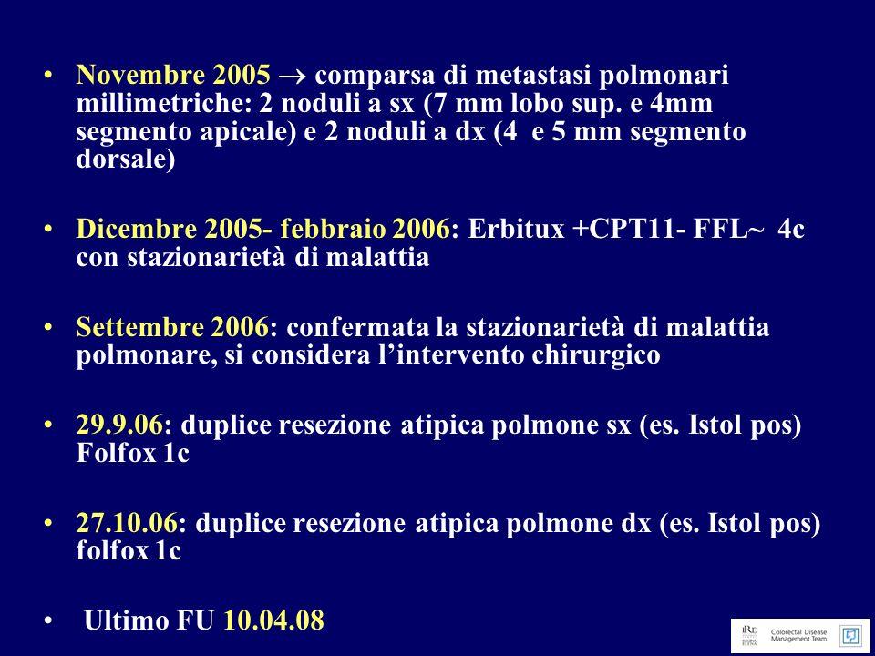 Novembre 2005 comparsa di metastasi polmonari millimetriche: 2 noduli a sx (7 mm lobo sup. e 4mm segmento apicale) e 2 noduli a dx (4 e 5 mm segmento