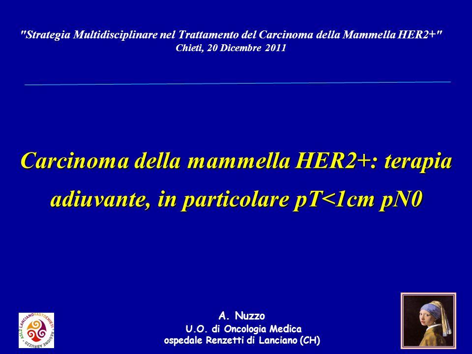 Strategia Multidisciplinare nel Trattamento del Carcinoma della Mammella HER2+ Chieti, 20 Dicembre 2011 Carcinoma della mammella HER2+: terapia adiuvante, in particolare pT<1cm pN0 A.