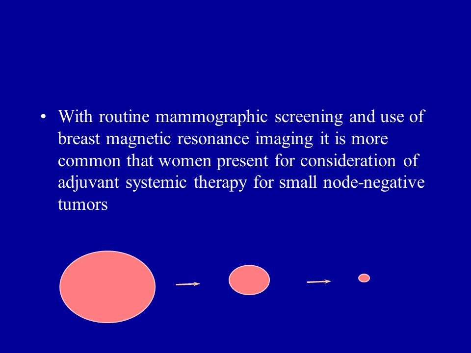With routine mammographic screening and use of breast magnetic resonance imaging it is more common that women present for consideration of adjuvant sy