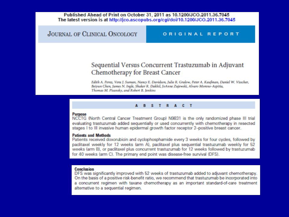 Conclusions II some circumstantial evidence could justify some form of trastuzumab-based adjuvant therapy in most women with T1b (>0.5 to 1 cm), N0, HER2-positive breast cancers among women with smaller, node-negative, HER2-positive breast cancers, is worth exploring trastuzumab-based chemotherapy regimens that may have less short-term toxicity and may be better tolerated