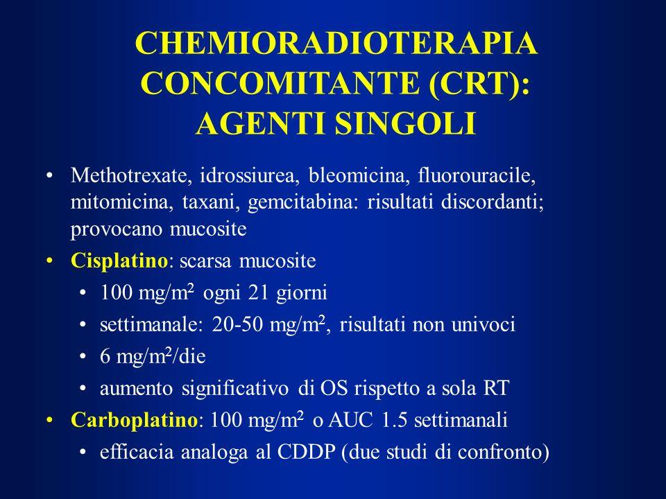 Methotrexate, idrossiurea, bleomicina, fluorouracile, mitomicina, taxani, gemcitabina: risultati discordanti; provocano mucosite Cisplatino: scarsa mu