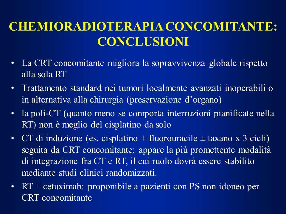 La CRT concomitante migliora la sopravvivenza globale rispetto alla sola RT Trattamento standard nei tumori localmente avanzati inoperabili o in alter