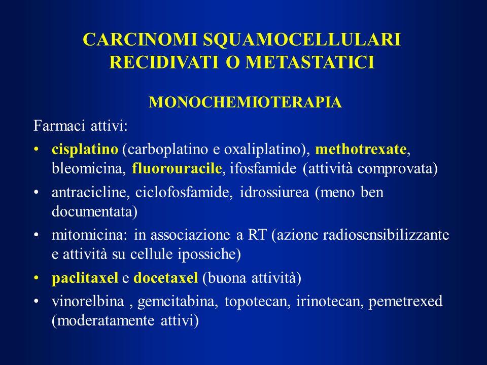 MONOCHEMIOTERAPIA Farmaci attivi: cisplatino (carboplatino e oxaliplatino), methotrexate, bleomicina, fluorouracile, ifosfamide (attività comprovata)