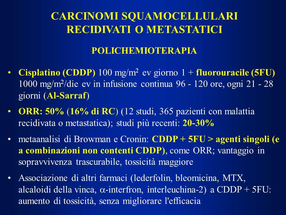 CARCINOMI SQUAMOCELLULARI RECIDIVATI O METASTATICI POLICHEMIOTERAPIA Cisplatino (CDDP) 100 mg/m 2 ev giorno 1 + fluorouracile (5FU) 1000 mg/m 2 /die e