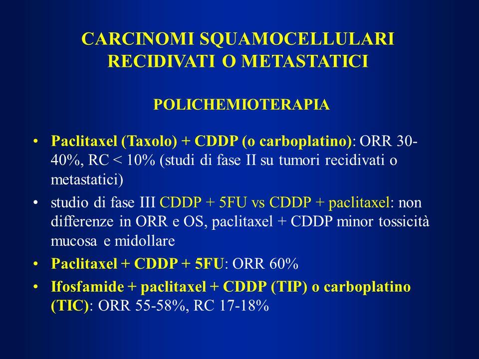 CARCINOMI SQUAMOCELLULARI RECIDIVATI O METASTATICI POLICHEMIOTERAPIA Paclitaxel (Taxolo) + CDDP (o carboplatino): ORR 30- 40%, RC < 10% (studi di fase