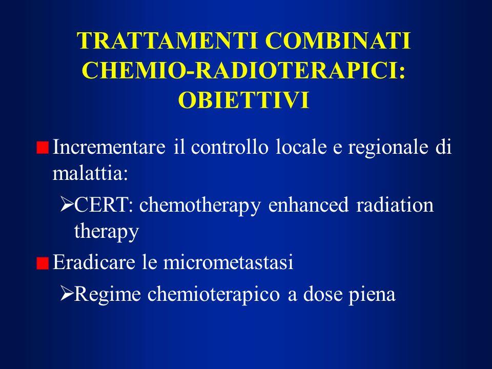 CARCINOMI SQUAMOCELLULARI RECIDIVATI O METASTATICI POLICHEMIOTERAPIA Cisplatino (CDDP) 100 mg/m 2 ev giorno 1 + fluorouracile (5FU) 1000 mg/m 2 /die ev in infusione continua 96 - 120 ore, ogni 21 - 28 giorni (Al-Sarraf) ORR: 50% (16% di RC) (12 studi, 365 pazienti con malattia recidivata o metastatica); studi più recenti: 20-30% metaanalisi di Browman e Cronin: CDDP + 5FU > agenti singoli (e a combinazioni non contenti CDDP), come ORR; vantaggio in sopravvivenza trascurabile, tossicità maggiore Associazione di altri farmaci (lederfolin, bleomicina, MTX, alcaloidi della vinca, -interfron, interleuchina-2) a CDDP + 5FU: aumento di tossicità, senza migliorare l efficacia
