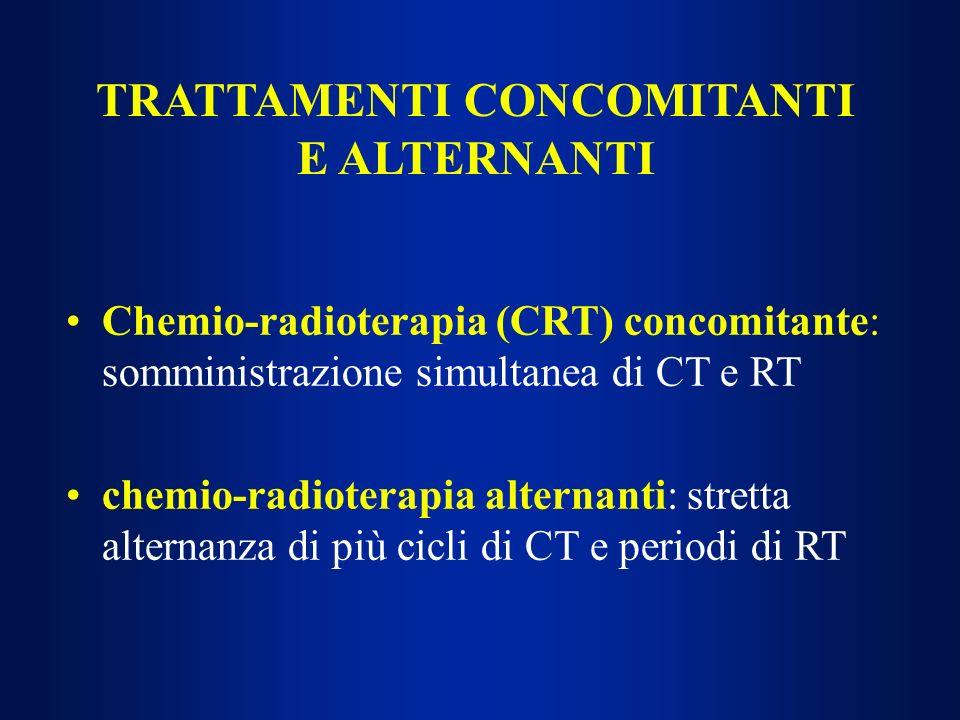 TRATTAMENTI CONCOMITANTI E ALTERNANTI Chemio-radioterapia (CRT) concomitante: somministrazione simultanea di CT e RT chemio-radioterapia alternanti: s