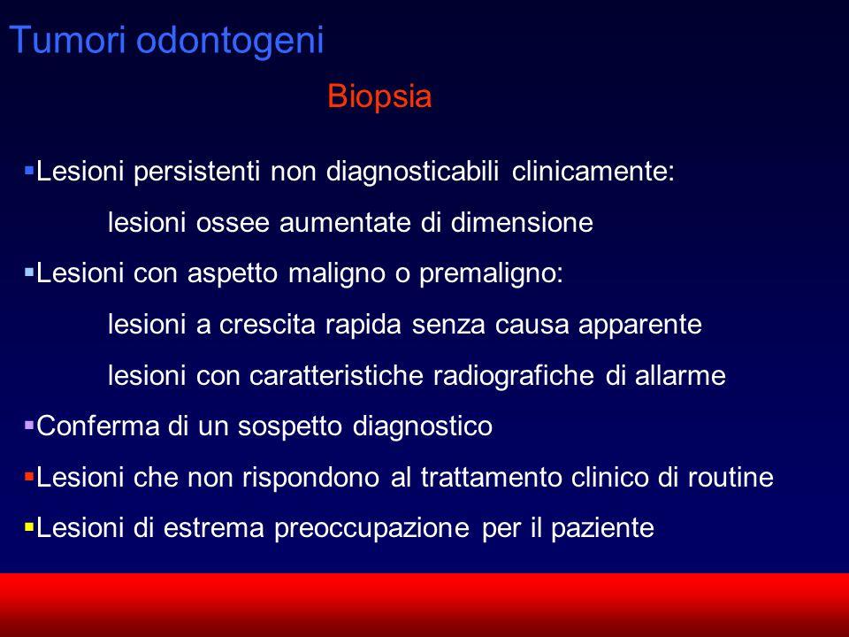 SUN CMF Tumori odontogeni Lesioni persistenti non diagnosticabili clinicamente: lesioni ossee aumentate di dimensione Lesioni con aspetto maligno o pr