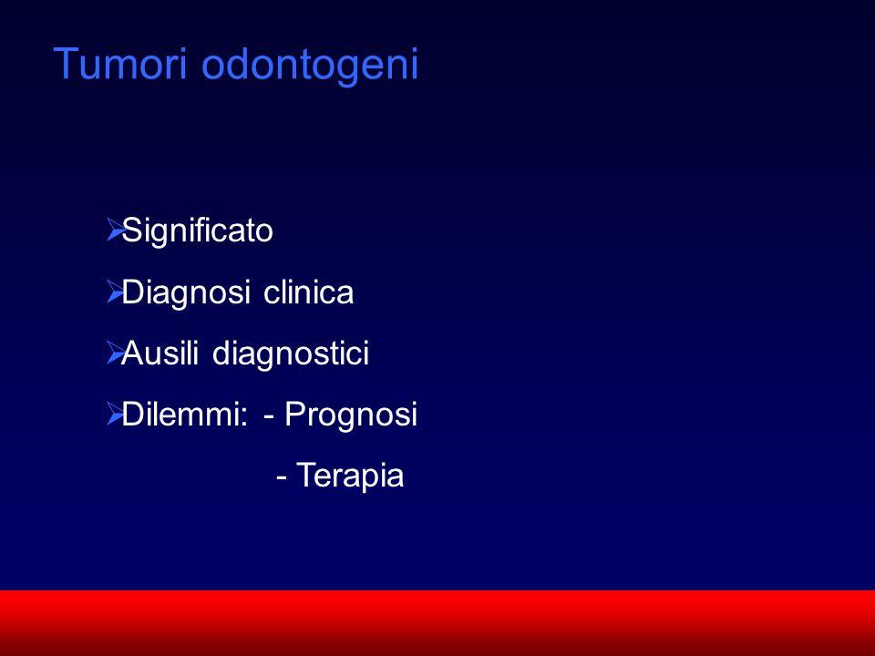 SUN CMF Tumori odontogeni Significato Diagnosi clinica Ausili diagnostici Dilemmi: - Prognosi - Terapia