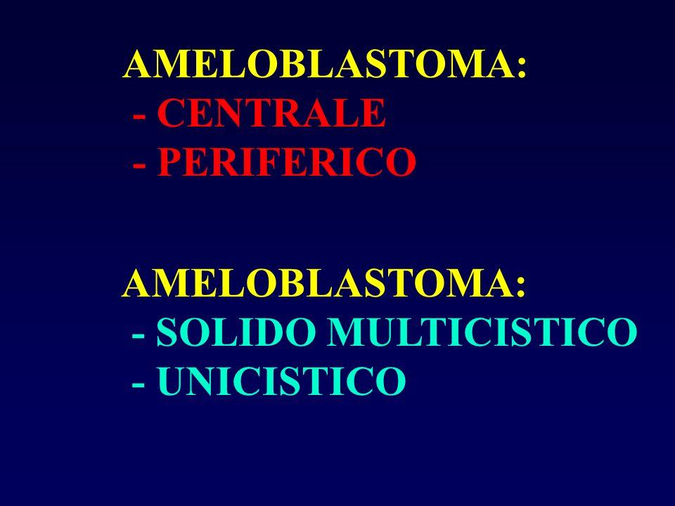 AMELOBLASTOMA: - CENTRALE - PERIFERICO AMELOBLASTOMA: - SOLIDO MULTICISTICO - UNICISTICO