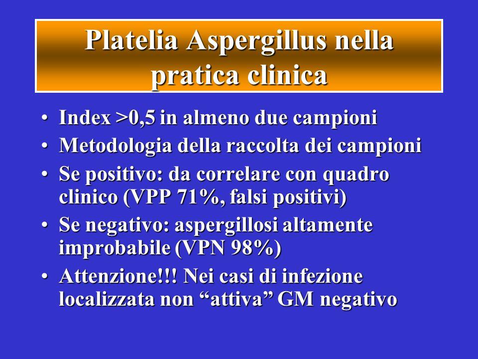 Platelia Aspergillus nella pratica clinica Index >0,5 in almeno due campioniIndex >0,5 in almeno due campioni Metodologia della raccolta dei campioniM
