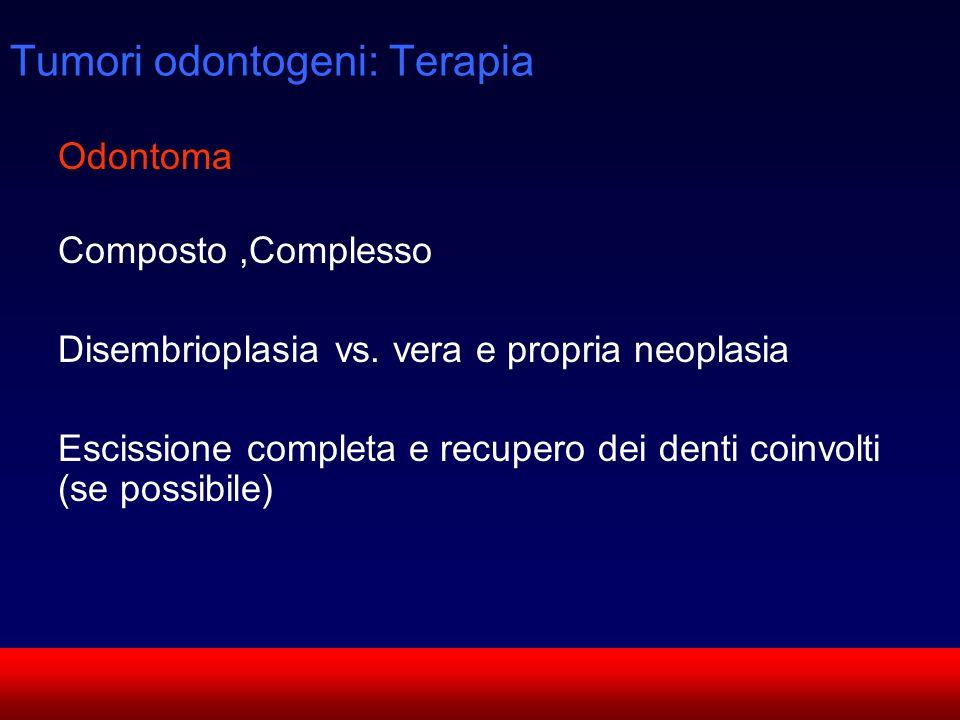 SUN CMF Odontoma Composto,Complesso Disembrioplasia vs. vera e propria neoplasia Escissione completa e recupero dei denti coinvolti (se possibile) Tum